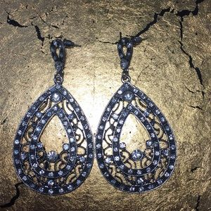 Teardrop encrusted diamond rhinestone earrings